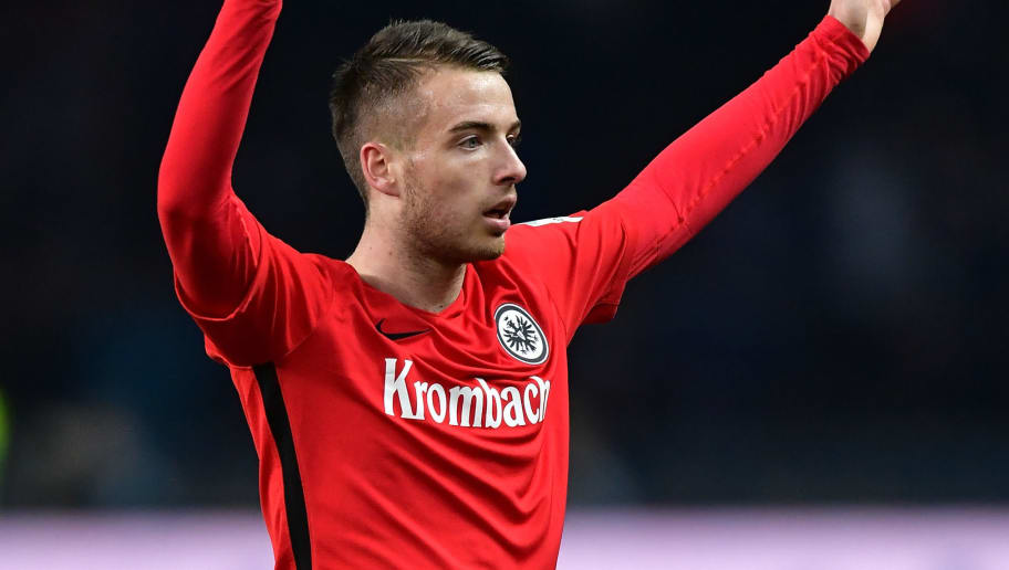 BERLIN, GERMANY - FEBRUARY 25:  Max Besuschkow of Frankfurt reacst during the Bundesliga match between Hertha BSC and Eintracht Frankfurt at Olympiastadion on February 25, 2017 in Berlin, Germany.  (Photo by Stuart Franklin/Bongarts/Getty Images)