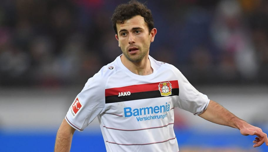 HANOVER, GERMANY - DECEMBER 17:  Admir Mehmedi of Leverkusen in action during the Bundesliga match between Hannover 96 and Bayer 04 Leverkusen at HDI-Arena on December 17, 2017 in Hanover, Germany.  (Photo by Stuart Franklin/Bongarts/Getty Images)
