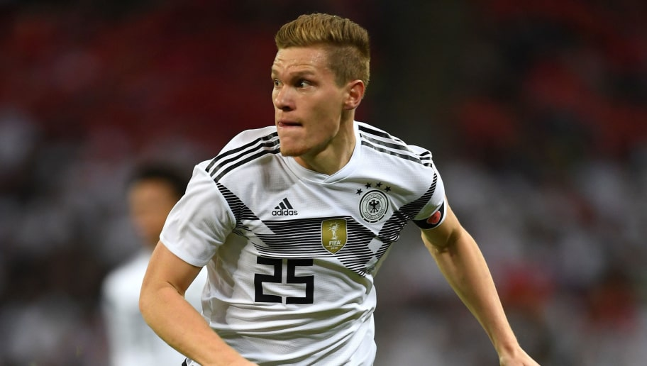 LONDON, ENGLAND - NOVEMBER 10:  Marcel Halstenberg of Germany in action during the International friendly match between England and Germany at Wembley Stadium on November 10, 2017 in London, England.  (Photo by Mike Hewitt/Bongarts/Getty Images)