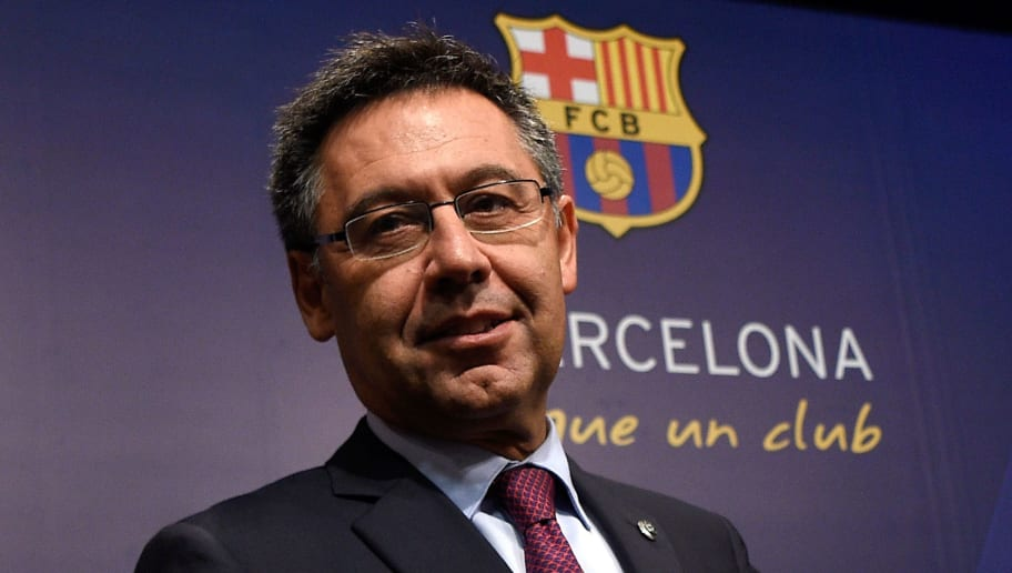 Barcelona's football club president Josep Maria Bartomeu looks-on during a press conference on May 29, 2017 at Camp Nou stadium in Barcelona to announce that Spanish coach Ernesto Valverde Ernesto Valverde will be the new coach of team. / AFP PHOTO / LLUIS GENE        (Photo credit should read LLUIS GENE/AFP/Getty Images)