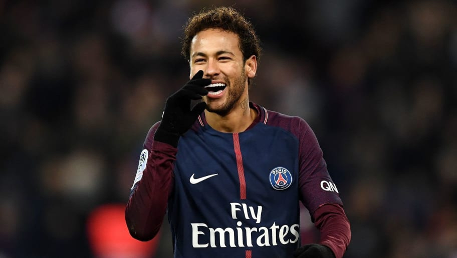 Paris Saint-Germain's Brazilian forward Neymar reacts during the French L1 football match between Paris Saint-Germain (PSG) and Montpellier (MHSC) at the Parc des Princes stadium in Paris on January 27, 2018. / AFP PHOTO / FRANCK FIFE        (Photo credit should read FRANCK FIFE/AFP/Getty Images)