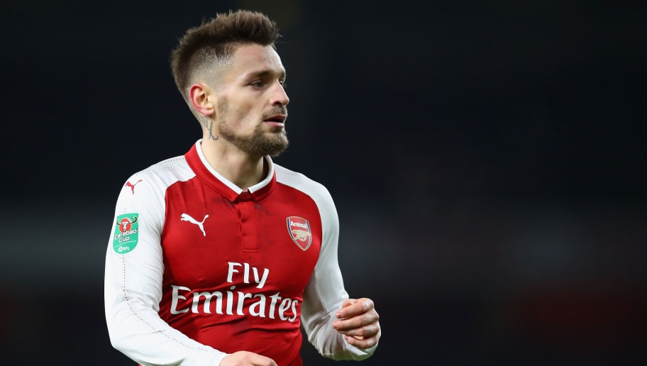 LONDON, ENGLAND - DECEMBER 19:  Mathieu Debuchy of Arsenal looks on during the Carabao Cup Quarter Finals match between Arsenal and West Ham United at Emirates Stadium on December 19, 2017 in London, England.  (Photo by Julian Finney/Getty Images)