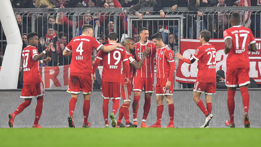 MUNICH, GERMANY - JANUARY 27: Sandro Wagner of Muenchen (4th right) celebrates with his team after he scored a goal to make it 5:2 during the Bundesliga match between FC Bayern Muenchen and TSG 1899 Hoffenheim at Allianz Arena on January 27, 2018 in Munich, Germany. (Photo by Sebastian Widmann/Bongarts/Getty Images)