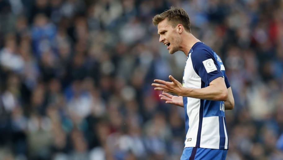 BERLIN, GERMANY - MAY 06: Sebastian Langkamp of Hertha BSC reacts during the Bundesliga match between Hertha BSC and RB Leipzig at Olympiastadion on May 6, 2017 in Berlin, Germany.  (Photo by Boris Streubel/Bongarts/Getty Images)
