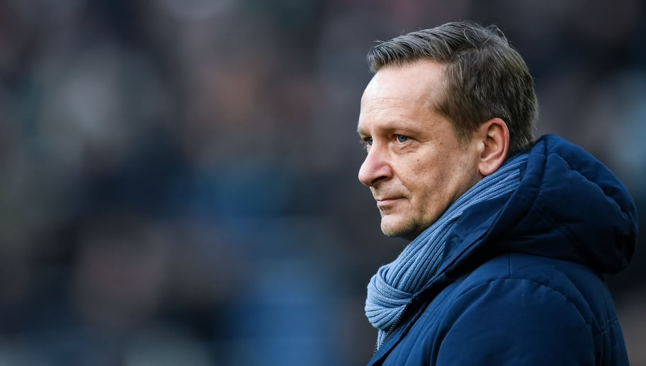 HANOVER, GERMANY - DECEMBER 17: Horst Heldt manager of Hannover 96 looks on prior the Bundesliga match between Hannover 96 and Bayer 04 Leverkusen at HDI-Arena on December 17, 2017 in Hanover, Germany. (Photo by Stuart Franklin/Bongarts/Getty Images)