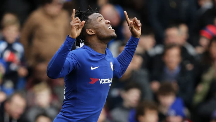 Chelsea's Belgian striker Michy Batshuayi celebrates after scoring the opening goal of the English FA Cup fourth round football match between Chelsea and Newcastle United at Stamford Bridge in London on January 28, 2018. / AFP PHOTO / Adrian DENNIS / RESTRICTED TO EDITORIAL USE. No use with unauthorized audio, video, data, fixture lists, club/league logos or 'live' services. Online in-match use limited to 75 images, no video emulation. No use in betting, games or single club/league/player publications.  /         (Photo credit should read ADRIAN DENNIS/AFP/Getty Images)
