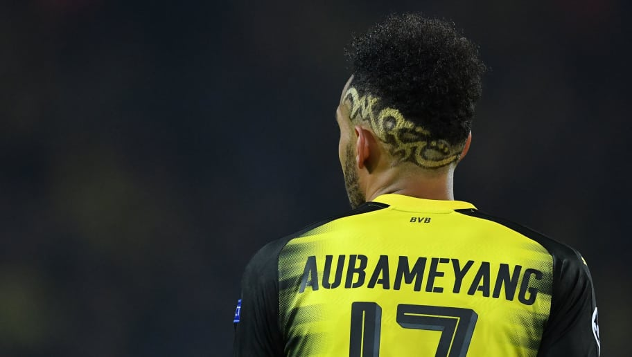 DORTMUND, GERMANY - NOVEMBER 21:  Pierre-Emerick Aubameyang of Borussia Dortmund looks on during the UEFA Champions League group H match between Borussia Dortmund and Tottenham Hotspur at Signal Iduna Park on November 21, 2017 in Dortmund, Germany.  (Photo by Stuart Franklin/Getty Images)