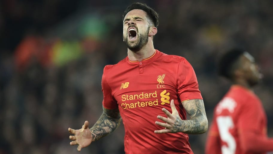 Liverpool's English striker Danny Ings reacts to missing a chance during the EFL (English Football League) Cup fourth round match between Liverpool and Tottenham Hotspur at Anfield in Liverpool north west England on October 25, 2016. / AFP / Oli SCARFF / RESTRICTED TO EDITORIAL USE. No use with unauthorized audio, video, data, fixture lists, club/league logos or 'live' services. Online in-match use limited to 75 images, no video emulation. No use in betting, games or single club/league/player publications.  /         (Photo credit should read OLI SCARFF/AFP/Getty Images)