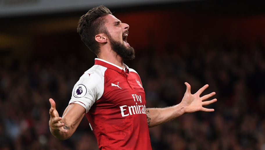 LONDON, ENGLAND - AUGUST 11:  Olivier Giroud of Arsenal celebrates after scoring his team's fourth goal during the Premier League match between Arsenal and Leicester City at the Emirates Stadium on August 11, 2017 in London, England.  (Photo by Shaun Botterill/Getty Images)