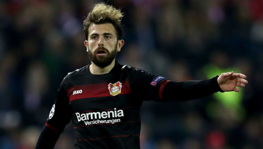 MADRID, SPAIN - MARCH 15: Admir Mehmedi of Bayer Leverkusen gestures during the UEFA Champions League Round of 16 second leg match between Club Atletico de Madrid and Bayer Leverkusen at Vicente Calderon Stadium on March 15, 2017 in Madrid, Spain.  (Photo by Lars Baron/Bongarts/Getty Images)