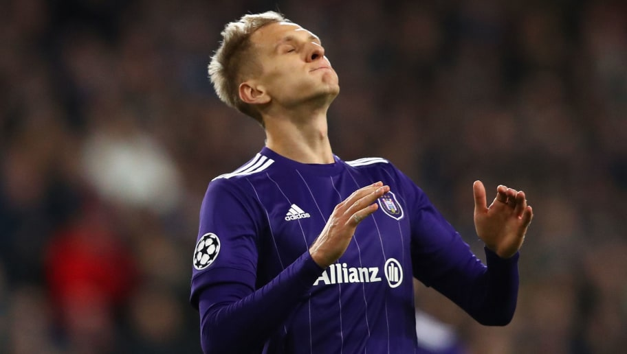 BRUSSELS, BELGIUM - NOVEMBER 22: Lukasz Teodorczyk of RSC Anderlecht reacts during the UEFA Champions League group B match between RSC Anderlecht and Bayern Muenchen at Constant Vanden Stock Stadium on November 22, 2017 in Brussels, Belgium.  (Photo by Dean Mouhtaropoulos/Getty Images)