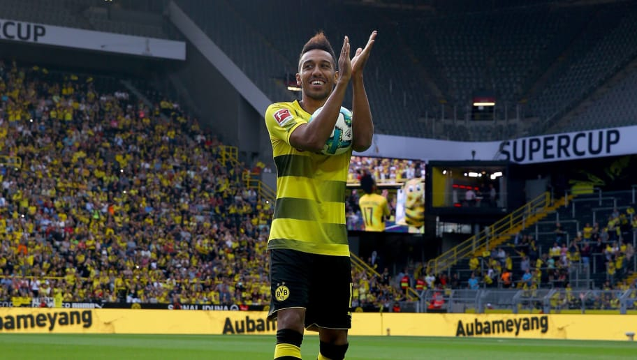 DORTMUND, GERMANY - AUGUST 04:  Pierre-Emerick Aubameyang welcomes the fans during the Borussia Dortmund Season Opening 2017/18 at Signal Iduna Park on August 4, 2017 in Dortmund, Germany.  (Photo by Christof Koepsel/Bongarts/Getty Images)