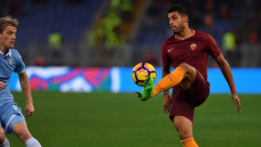 AS Roma's defender from Brazil Emerson Palmieri (R) controls the ball in front of Lazio's defender from Serbia Dusan Basta during the Italian TIM Cup 1st leg semifinal football match on March 1, 2017 at the Olympic stadium in Rome.  / AFP PHOTO / ALBERTO PIZZOLI        (Photo credit should read ALBERTO PIZZOLI/AFP/Getty Images)