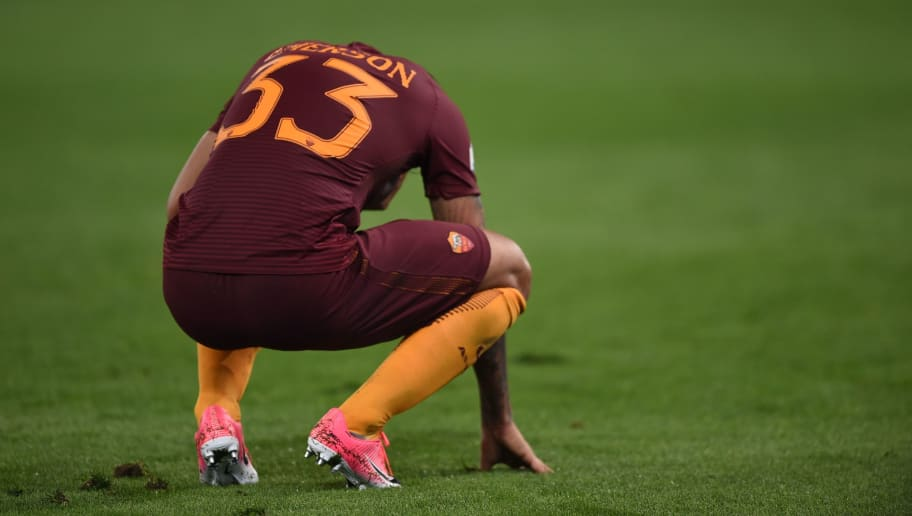 Roma's defender from Brazil Emerson Palmieri reacts during the Italian Tim Cup second leg semi-final football match AS Roma vs Lazio on April 4, 2017 at the Olympic stadium in Rome. AS Roma won 3-2 but Lazio is qualified for the final. / AFP PHOTO / Filippo MONTEFORTE        (Photo credit should read FILIPPO MONTEFORTE/AFP/Getty Images)