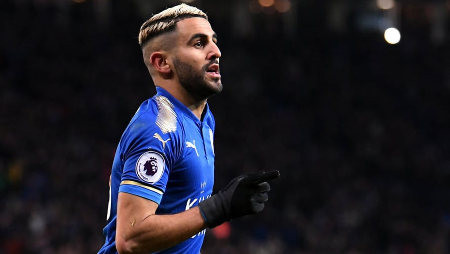 LEICESTER, ENGLAND - JANUARY 20:  Riyad Mahrez of Leicester City celebrates scoring his side's second goal during the Premier League match between Leicester City and Watford at The King Power Stadium on January 20, 2018 in Leicester, England.  (Photo by Laurence Griffiths/Getty Images)