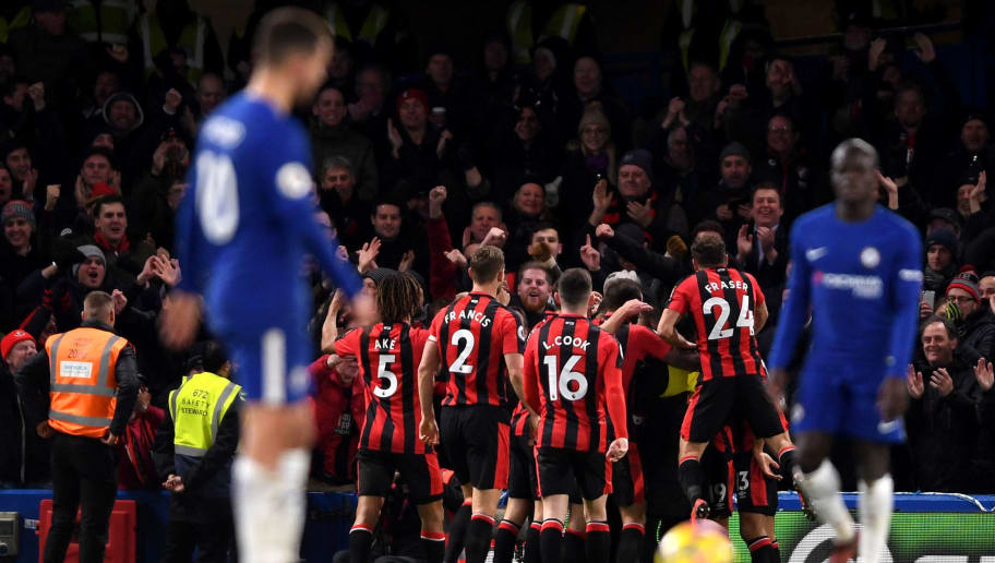 LONDON, ENGLAND - JANUARY 31: Nathan Ake of AFC Bournemouth celebrates after scoring his sides third goal with his AFC Bournemouth team during the Premier League match between Chelsea and AFC Bournemouth at Stamford Bridge on January 31, 2018 in London, England.  (Photo by Mike Hewitt/Getty Images)