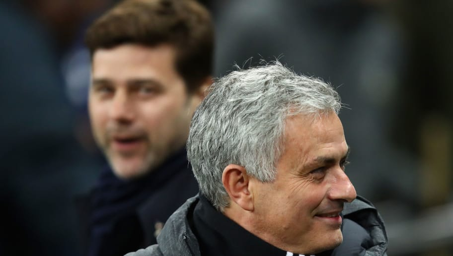 LONDON, ENGLAND - JANUARY 31:  Jose Mourinho of Manchester United looks on during the Premier League match between Tottenham Hotspur and Manchester United at Wembley Stadium on January 31, 2018 in London, England.  (Photo by Julian Finney/Getty Images)