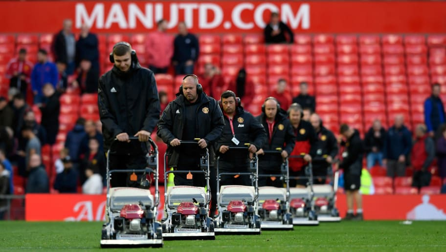 MANCHESTER, ENGLAND - SEPTEMBER 17:  The ground staff cut the grass with their fleet of lawnmowers after the Premier League match between Manchester United and Everton at Old Trafford on September 17, 2017 in Manchester, England.  (Photo by Stu Forster/Getty Images)