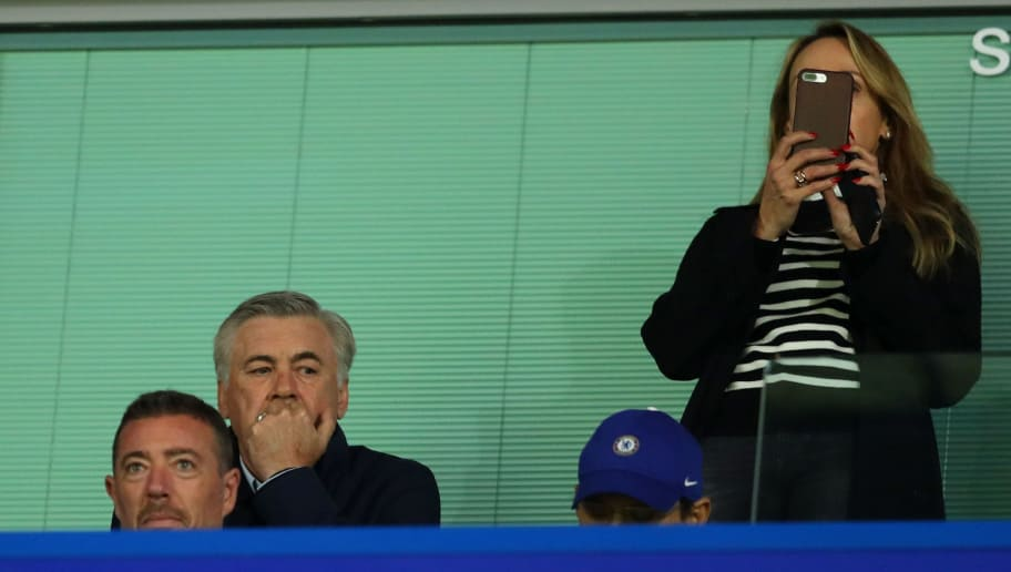 LONDON, ENGLAND - OCTOBER 18:  Carlo Ancelotti, ex Chelsea manager is seen in the stands prior to the UEFA Champions League group C match between Chelsea FC and AS Roma at Stamford Bridge on October 18, 2017 in London, United Kingdom.  (Photo by Richard Heathcote/Getty Images)