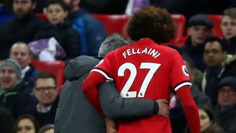 LONDON, ENGLAND - JANUARY 31:  Marouane Fellaini of Manchester United is replaced by Jose Mourinho, Manager of Manchester United during the Premier League match between Tottenham Hotspur and Manchester United at Wembley Stadium on January 31, 2018 in London, England.  (Photo by Julian Finney/Getty Images)