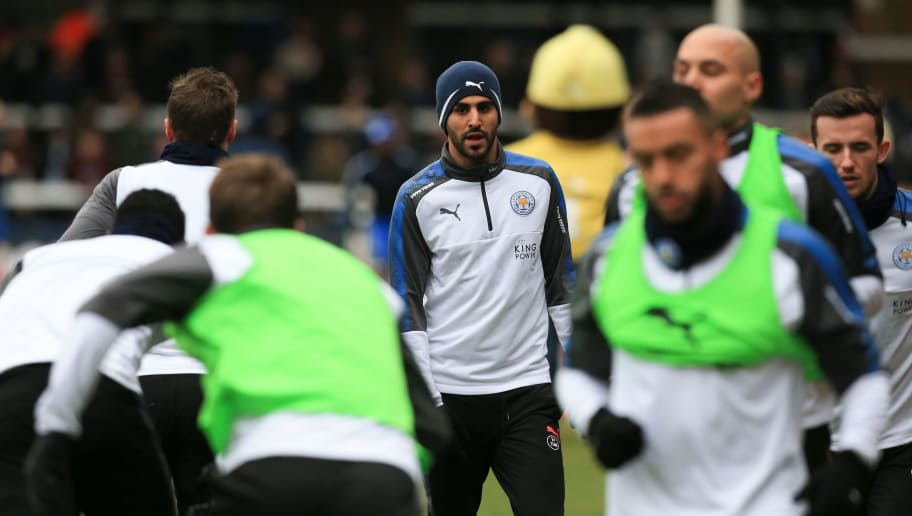 Leicester City's Algerian midfielder Riyad Mahrez warms up for the English FA Cup fourth round football match between Peterborough United and Leicester City at London Road stadium in Peterborough, eastern England, on January 27, 2018. / AFP PHOTO / Lindsey PARNABY / RESTRICTED TO EDITORIAL USE. No use with unauthorized audio, video, data, fixture lists, club/league logos or 'live' services. Online in-match use limited to 75 images, no video emulation. No use in betting, games or single club/league/player publications.  /         (Photo credit should read LINDSEY PARNABY/AFP/Getty Images)