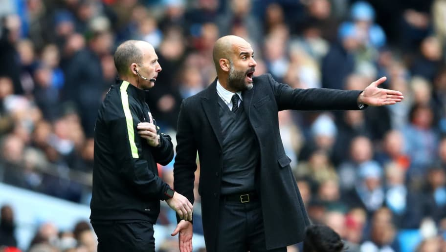 MANCHESTER, ENGLAND - DECEMBER 03: Josep Guardiola, Manager of Manchester City appeals to the fourth official after Diego Costa of Chelsea is challenged during the Premier League match between Manchester City and Chelsea at Etihad Stadium on December 3, 2016 in Manchester, England.  (Photo by Clive Brunskill/Getty Images)