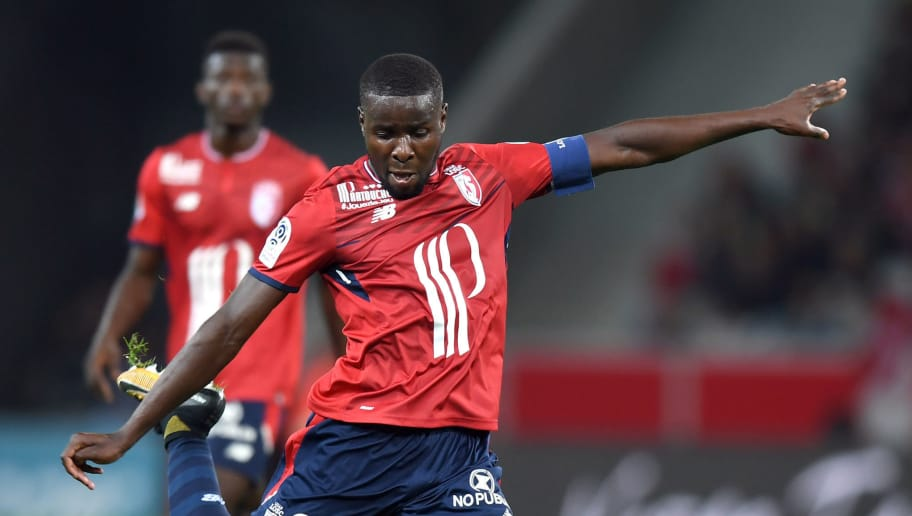 Lille's defender  Ibrahim Amadou kicks the ball during the French L1 football match between Lille OSC (LOSC) and Bordeaux at the Pierre-Mauroy Stadium in Villeneuve d'Ascq, near Lille, northern France, on September 8, 2017. / AFP PHOTO / DENIS CHARLET        (Photo credit should read DENIS CHARLET/AFP/Getty Images)