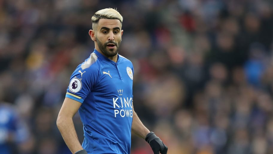 LEICESTER, ENGLAND - JANUARY 20:  Riyad Mahrez of Leicester City in action during the Premier League match between Leicester City and Watford at The King Power Stadium on January 20, 2018 in Leicester, England.  (Photo by Mark Thompson/Getty Images)