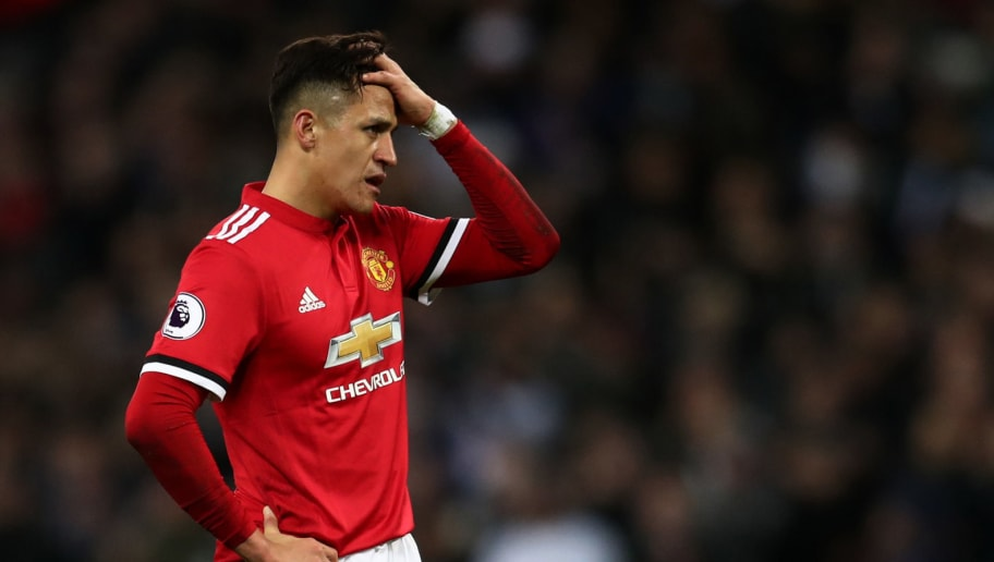 LONDON, ENGLAND - JANUARY 31: A dejected looking Alexis Sanchez of Manchester United during the Premier League match between Tottenham Hotspur and Manchester United at Wembley Stadium on January 31, 2018 in London, England. (Photo by Catherine Ivill/Getty Images)