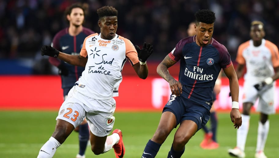 Paris Saint-Germain's French defender Presnel Kimpembe (R) controls the ball next to Montpellier's French defender Nordi Mukiele during the French L1 football match between Paris Saint-Germain (PSG) and Montpellier (MHSC) at the Parc des Princes stadium in Paris on January 27, 2018. / AFP PHOTO / FRANCK FIFE        (Photo credit should read FRANCK FIFE/AFP/Getty Images)