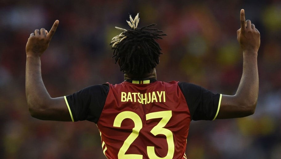 Belgium's defender Michy Batshuayi celebrates after scoring during the friendly football match between Belgium and Czech Republic, at the King Baudouin Stadium, on June 5, 2017 in Brussels. / AFP PHOTO / JOHN THYS        (Photo credit should read JOHN THYS/AFP/Getty Images)