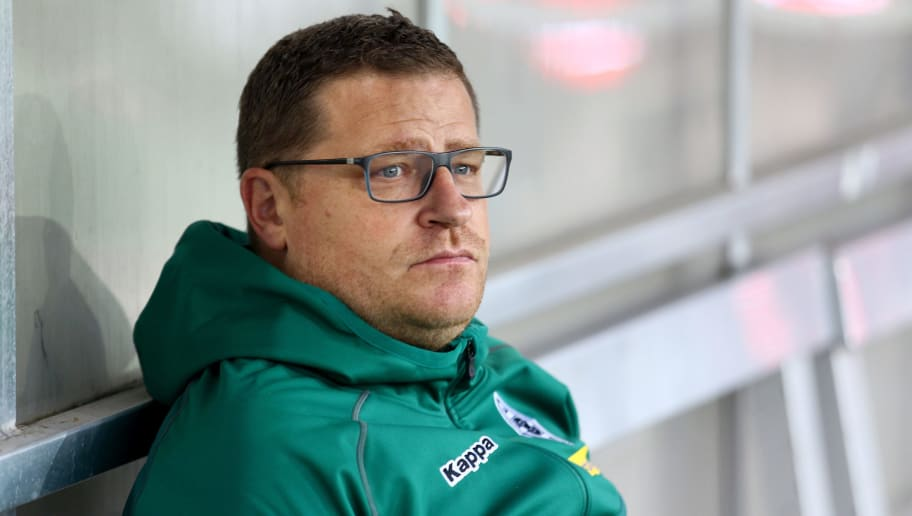 ESSEN, GERMANY - AUGUST 11:  Manager Max Eberl of Mnchengladbach looks on prior to the DFB Cup first round match between Rot-Weiss Essen and Borussia Moenchengladbach at Stadion Essen on August 11, 2017 in Essen, Germany.  (Photo by Christof Koepsel/Bongarts/Getty Images)