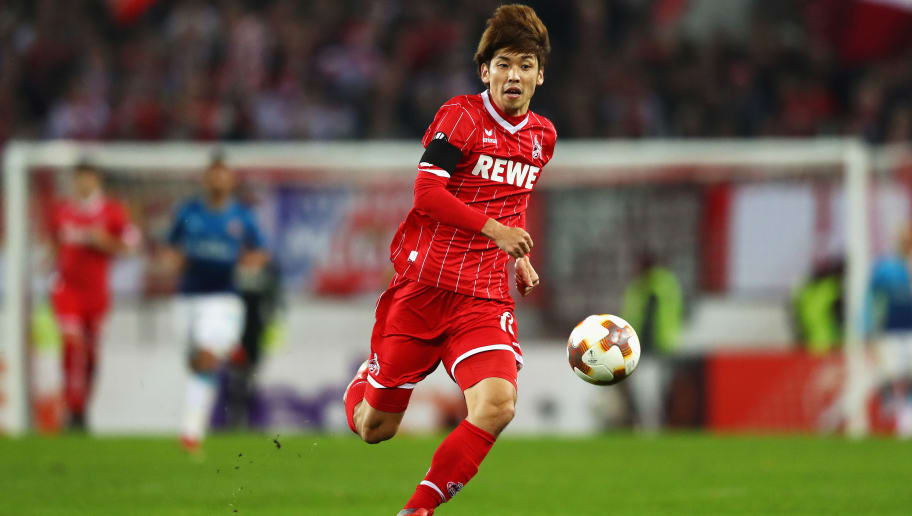 COLOGNE, GERMANY - NOVEMBER 23:  Yuya Osako of Koeln in action during the UEFA Europa League group H match between 1. FC Koeln and Arsenal FC at RheinEnergieStadion on November 23, 2017 in Cologne, Germany.  (Photo by Dean Mouhtaropoulos/Getty Images)