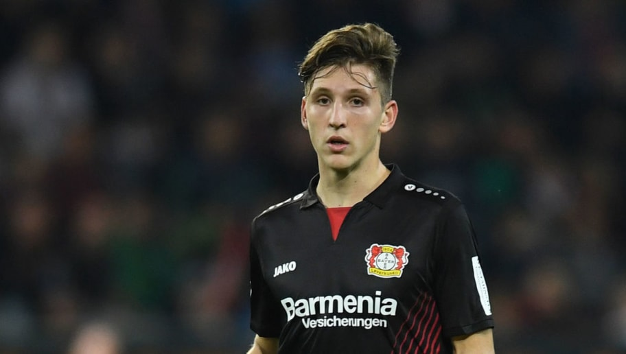 Leverkusen's Greek defender Panagiotis Retsos plays the ball during the German first division Bundesliga football match FC Augsburg vs Bayer Leverkusen in Augsburg, southern Germany, on November 4, 2017. / AFP PHOTO / Christof STACHE / RESTRICTIONS: DURING MATCH TIME: DFL RULES TO LIMIT THE ONLINE USAGE TO 15 PICTURES PER MATCH AND FORBID IMAGE SEQUENCES TO SIMULATE VIDEO. == RESTRICTED TO EDITORIAL USE == FOR FURTHER QUERIES PLEASE CONTACT DFL DIRECTLY AT + 49 69 650050         (Photo credit should read CHRISTOF STACHE/AFP/Getty Images)