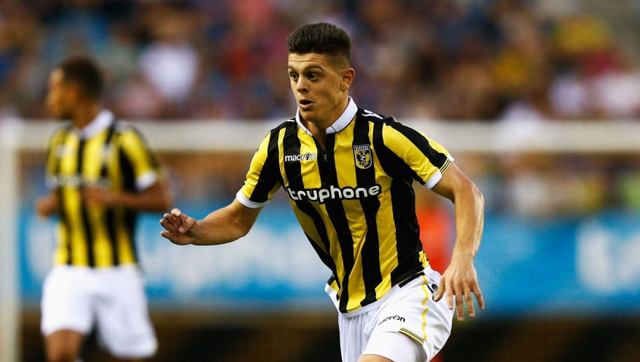 ARNHEM, NETHERLANDS - AUGUST 06:  Milot Rashica of Vitesse in action during the UEFA Europa League third qualifying Round 2nd Leg match between Vitesse Arnhem and Southampton FC held at GelreDome on August 6, 2015 in Arnhem, Netherlands.  (Photo by Dean Mouhtaropoulos/Getty Images)