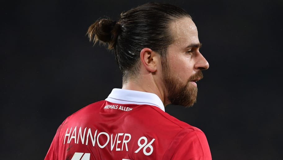 HANOVER, GERMANY - JANUARY 28:  Martin Harnik of Hannover looks dejected during the Bundesliga match between Hannover 96 and VfL Wolfsburg at HDI-Arena on January 28, 2018 in Hanover, Germany.  (Photo by Stuart Franklin/Bongarts/Getty Images)