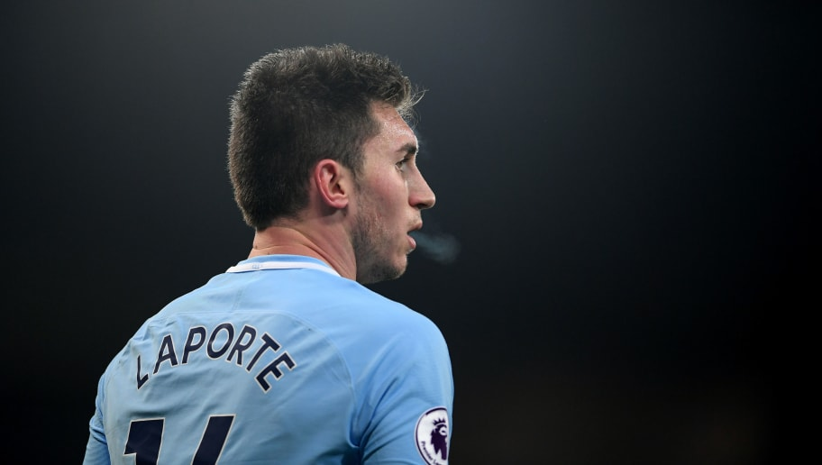 MANCHESTER, ENGLAND - JANUARY 31:  Aymeric Laporte of Manchester City looks on during the Premier League match between Manchester City and West Bromwich Albion at Etihad Stadium on January 31, 2018 in Manchester, England.  (Photo by Laurence Griffiths/Getty Images)
