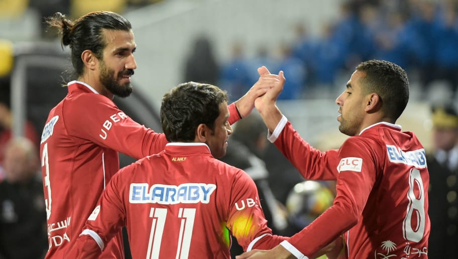 c1c1e8f714b Al-Ahly s Momen Zakaria (R) celebrates with teammates after scoring during  the friendly