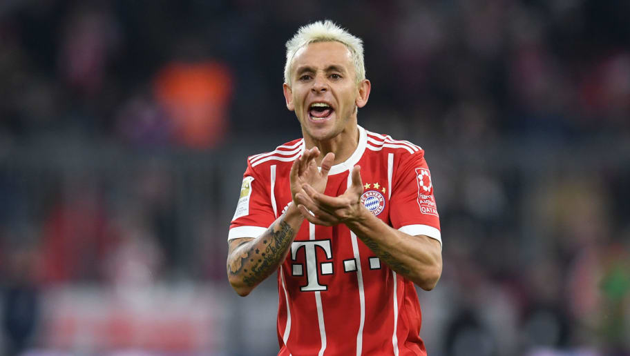 Bayern Munich's Brazilian defender Rafinha reacts during the German first division Bundesliga football match between FC Bayern Munich and FC Cologne on December 13, 2017 in Munich, southern Germany. / AFP PHOTO / CHRISTOF STACHE / RESTRICTIONS: DURING MATCH TIME: DFL RULES TO LIMIT THE ONLINE USAGE TO 15 PICTURES PER MATCH AND FORBID IMAGE SEQUENCES TO SIMULATE VIDEO. == RESTRICTED TO EDITORIAL USE == FOR FURTHER QUERIES PLEASE CONTACT DFL DIRECTLY AT + 49 69 650050         (Photo credit should read CHRISTOF STACHE/AFP/Getty Images)