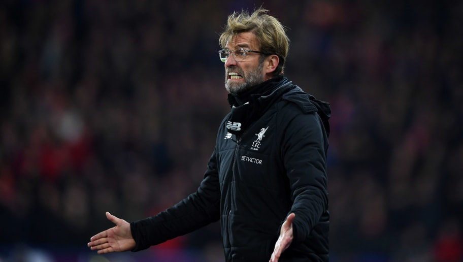 HUDDERSFIELD, ENGLAND - JANUARY 30:  Jurgen Klopp, Manager of Liverpool reacts during the Premier League match between Huddersfield Town and Liverpool at John Smith's Stadium on January 30, 2018 in Huddersfield, England.  (Photo by Gareth Copley/Getty Images)