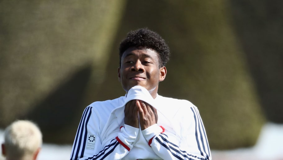 DOHA, QATAR - JANUARY 04: David Alaba reacts during a training session on day 3 of the FC Bayern Muenchen training camp at ASPIRE Academy for Sports Excellence on January 4, 2018 in Doha, Qatar.  (Photo by Alex Grimm/Bongarts/Getty Images)