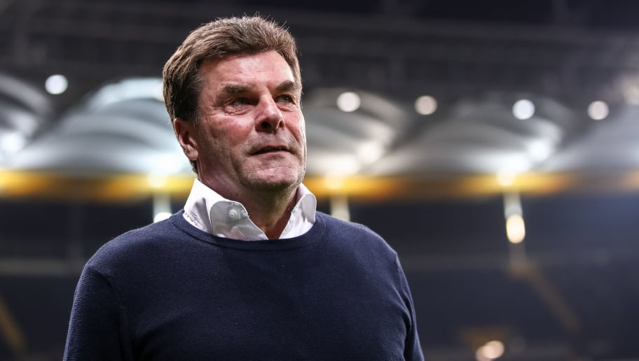 FRANKFURT AM MAIN, GERMANY - JANUARY 26: Head Coach Dieter Hecking of Moenchengladbach looks on prior the Bundesliga match between Eintracht Frankfurt and Borussia Moenchengladbach at Commerzbank-Arena on January 26, 2018 in Frankfurt am Main, Germany. (Photo by Alex Grimm/Bongarts/Getty Images)