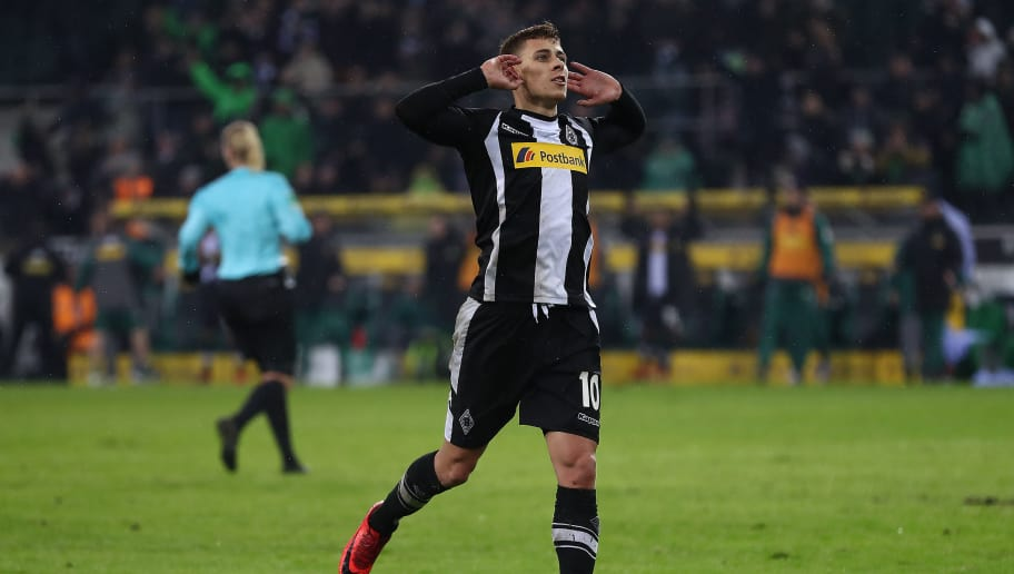 MOENCHENGLADBACH, GERMANY - JANUARY 20: Thorgan Hazard of Moenchengladbach (l) celebrates after he scored to make it 2:0 during the Bundesliga match between Borussia Moenchengladbach and FC Augsburg at Borussia-Park on January 20, 2018 in Moenchengladbach, Germany. (Photo by Lars Baron/Bongarts/Getty Images)i