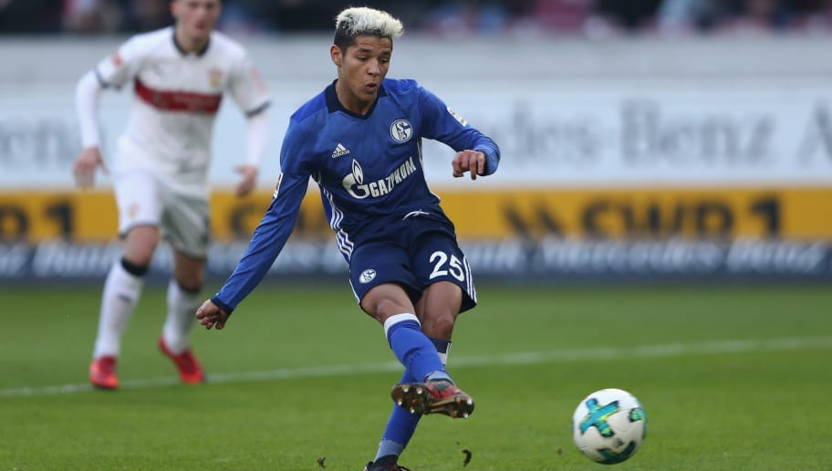 STUTTGART, GERMANY - JANUARY 27: Amine Harit of Schalke scores his team's second goal with a penalty during the Bundesliga match between VfB Stuttgart and FC Schalke 04 at Mercedes-Benz Arena on January 27, 2018 in Stuttgart, Germany.  (Photo by Alex Grimm/Bongarts/Getty Images)