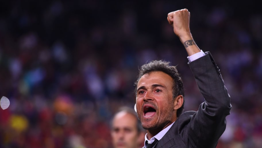 Barcelona's coach Luis Enrique celebrates their victory after the team won the Spanish Copa del Rey (King's Cup) final football match FC Barcelona vs Deportivo Alaves at the Vicente Calderon stadium in Madrid on May 27, 2017. Barcelona won 3-1. / AFP PHOTO / Josep LAGO        (Photo credit should read JOSEP LAGO/AFP/Getty Images)
