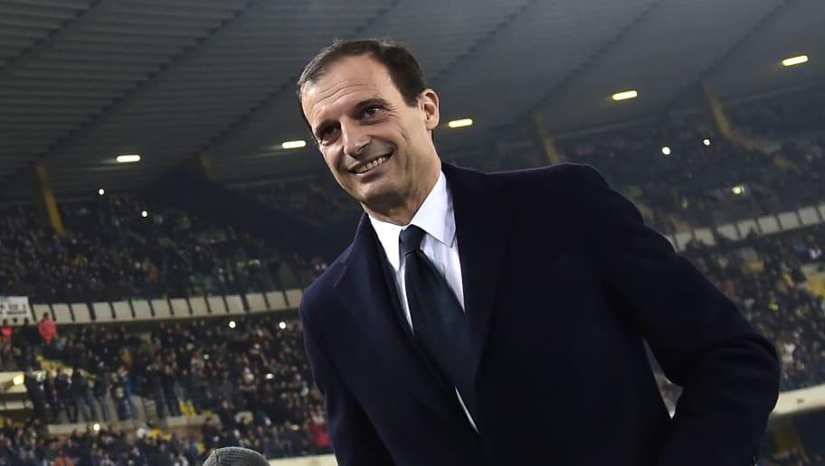 Juventus' Italian coach Massimiliano Allegri enters the pitch prior to the Italian Serie A football match AC Chievo vs Juventus at the Marcantonio-Bentegodi stadium in Verona on January 27, 2018.  / AFP PHOTO / MIGUEL MEDINA        (Photo credit should read MIGUEL MEDINA/AFP/Getty Images)