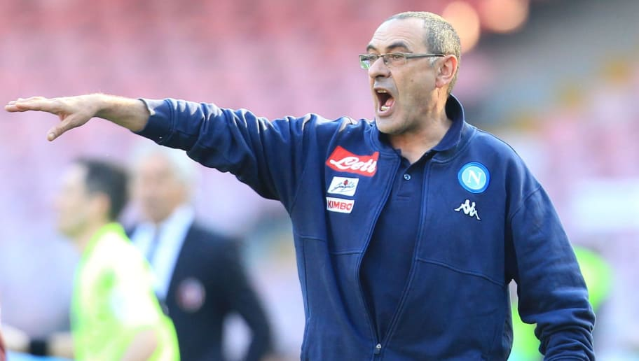 Napoli's Italian coach Maurizo Sarri reacts during the Italian Serie A football match SSC Napoli vs Bologna FC 1909 on Jaunary 28, 2018 at the San Paolo Stadium. / AFP PHOTO / CARLO HERMANN        (Photo credit should read CARLO HERMANN/AFP/Getty Images)