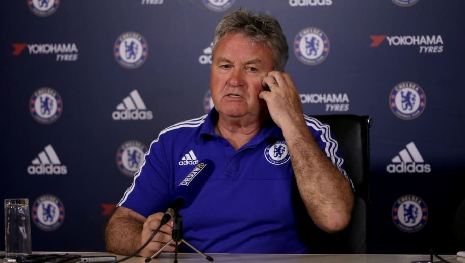 COBHAM, ENGLAND - MAY 13:  Guus Hiddink, the Chelsea manager, is pictured during a press conference at Chelsea Training Ground on May 13, 2016 in Cobham, England.  (Photo by Andrew Redington/Getty Images)