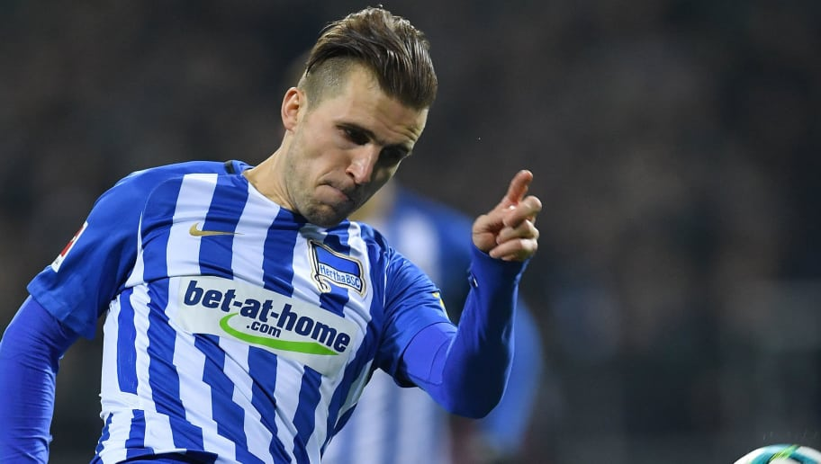 BREMEN, GERMANY - JANUARY 27:  Peter Pekarik of berlin in action during the Bundesliga match between SV Werder Bremen and Hertha BSC at Weserstadion on January 27, 2018 in Bremen, Germany.  (Photo by Stuart Franklin/Bongarts/Getty Images)
