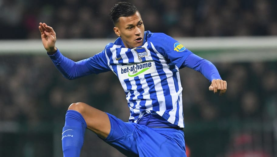 BREMEN, GERMANY - JANUARY 27:  Davie Selke of berlin in action during the Bundesliga match between SV Werder Bremen and Hertha BSC at Weserstadion on January 27, 2018 in Bremen, Germany.  (Photo by Stuart Franklin/Bongarts/Getty Images)
